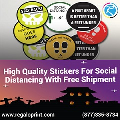 Help in Spreading Awareness of Social Distancing in Public Places with RegaloPrint's Stickers Printing Service!